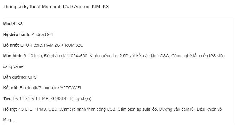 thông số kỹ thuật của màn hình dvd xe hơi kimi k3