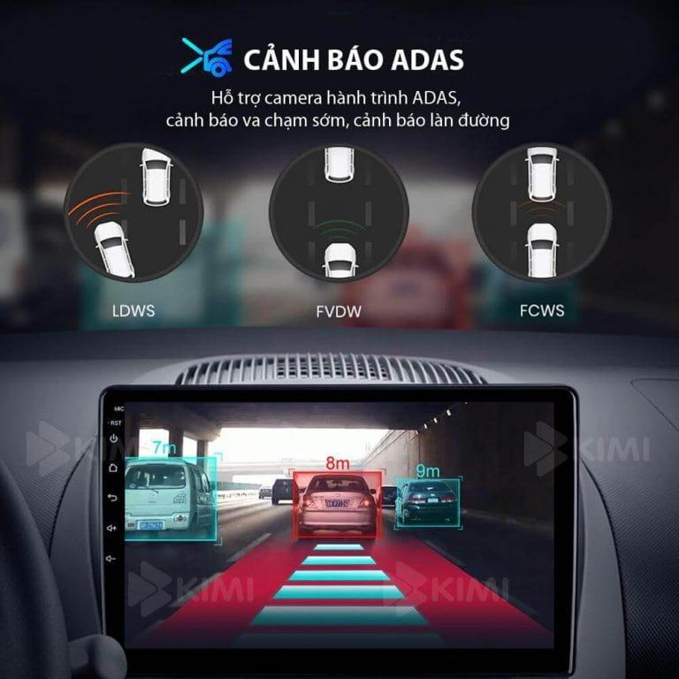cảnh báo adas trên màn hình dvd android kimi