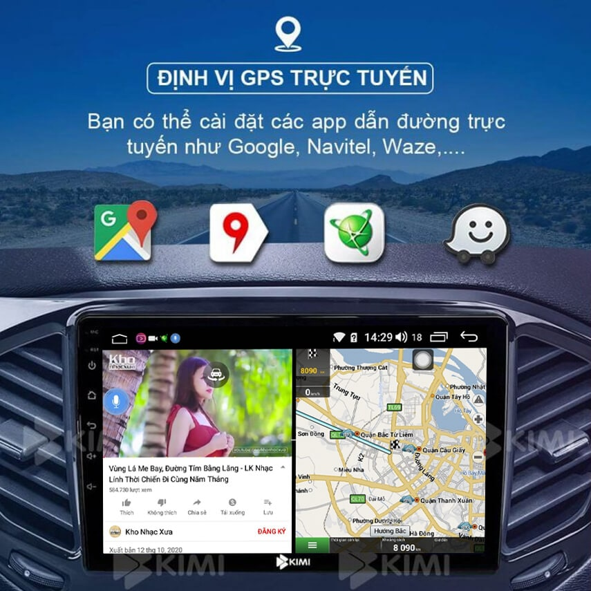 kimi k360 pro tích hợp nhiều phần mềm dẫn đường thông minh như google map, navitel, vietmap...