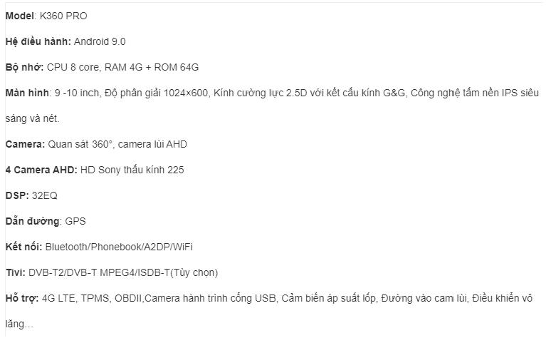 thông số kỹ thuật của màn hình ô tô dvd android kimi k360 pro