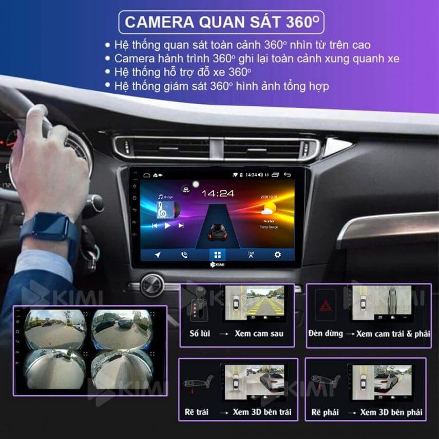 màn hình dvd android tích hợp camera ghi hình 360 độ