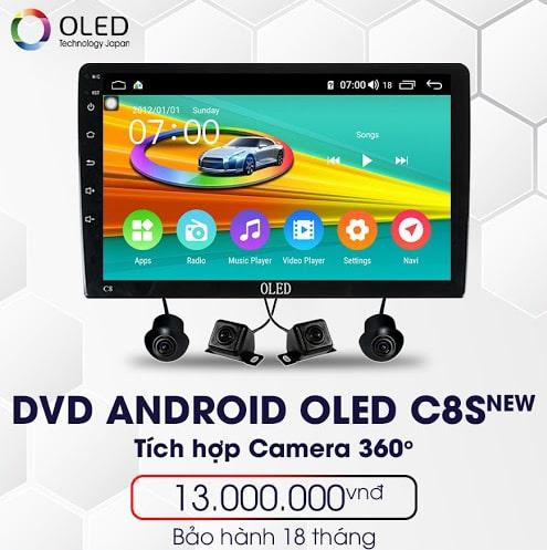 màn hình dvd adnroid oled c8s new liền camera 360 độ