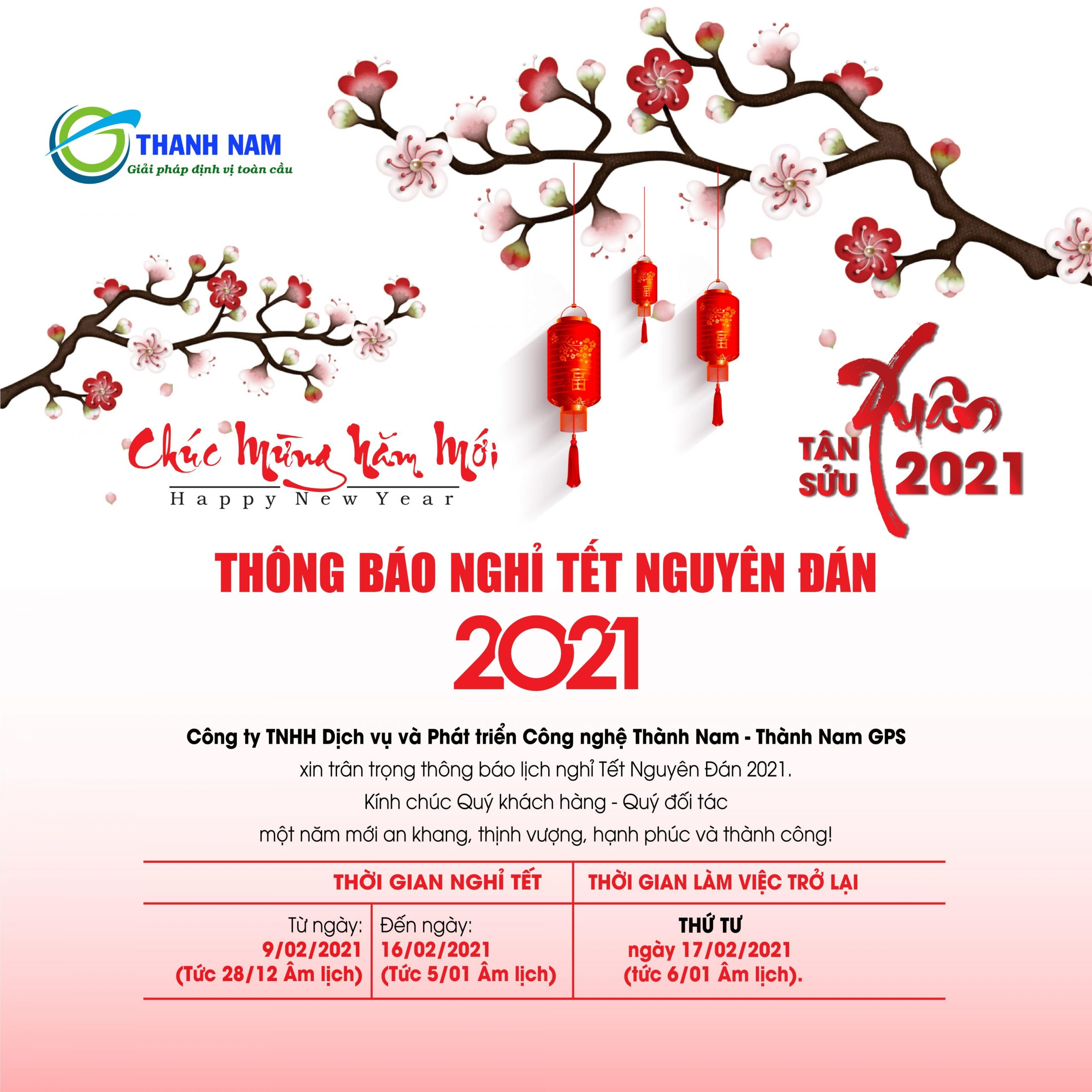 thành nam gps thông báo lịch nghỉ tết nguyên đán tân sửu 2021