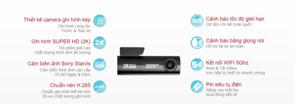 camera hành trình đa năng, nhỏ gọn vietmap kc01 pro