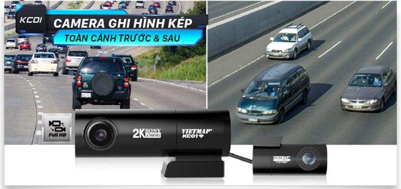 vietmap kc01 pro ghi hình trước và sau xe full hd