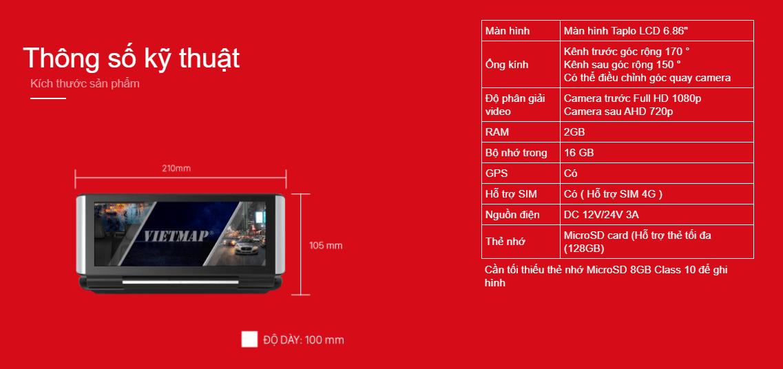thông số kỹ thuật của camera hành trình xe vietmap d22