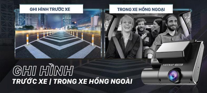 camera ghi hình trước và trong xe full hd vietmap vm300