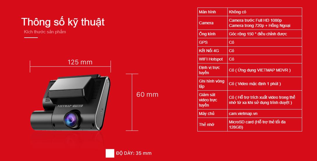 thông số kỹ thuật của camera hành trình xe vietmap vm300