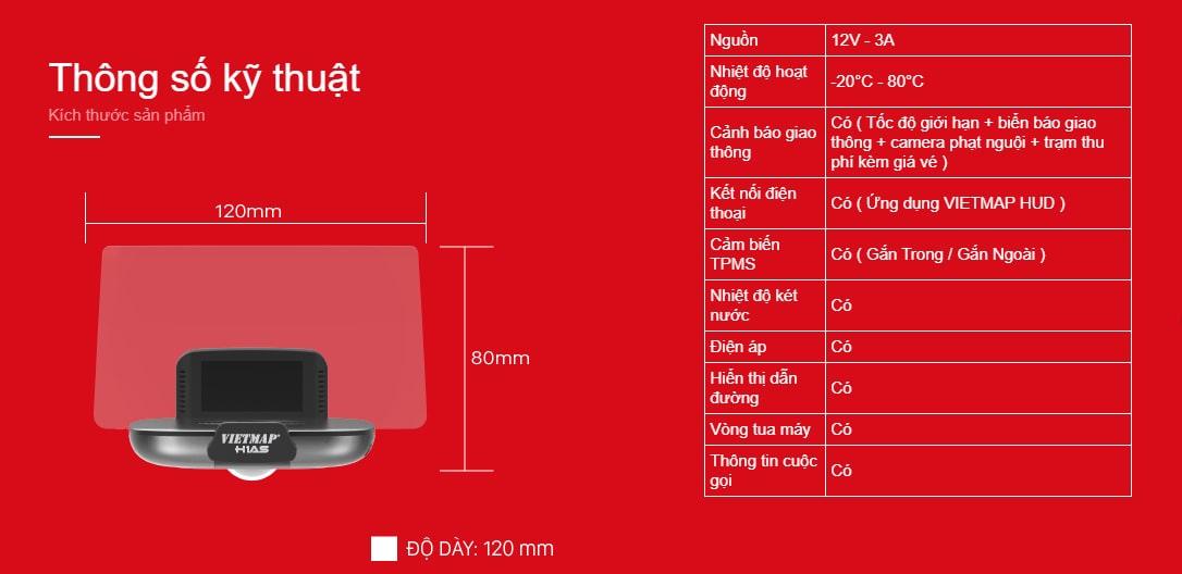 thông số kỹ thuật của màn hình hiển thị hud h1as