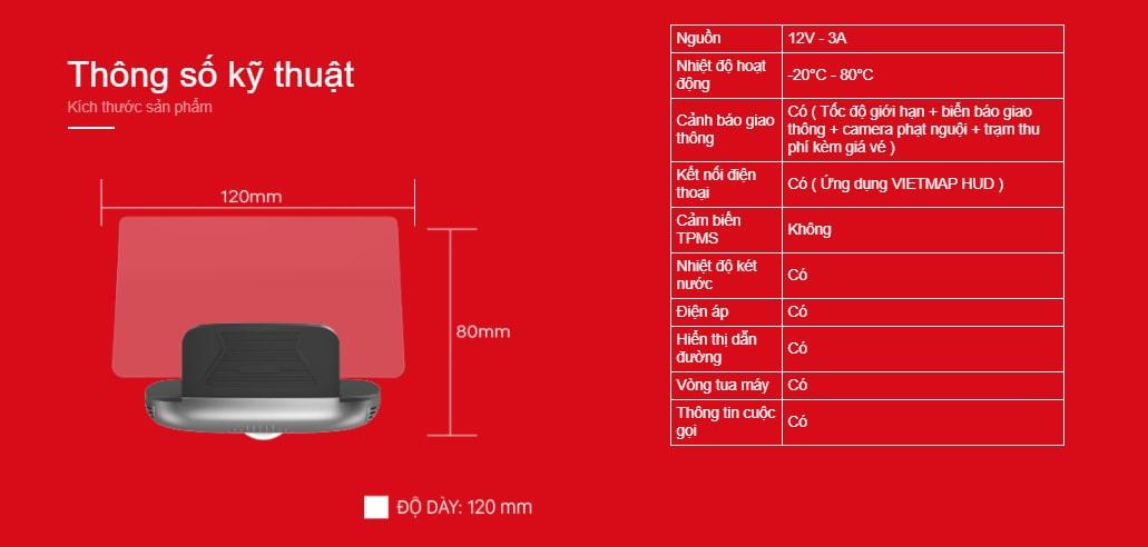 thông số kỹ thuật của màn hình hiển thị hud vietmap h1n