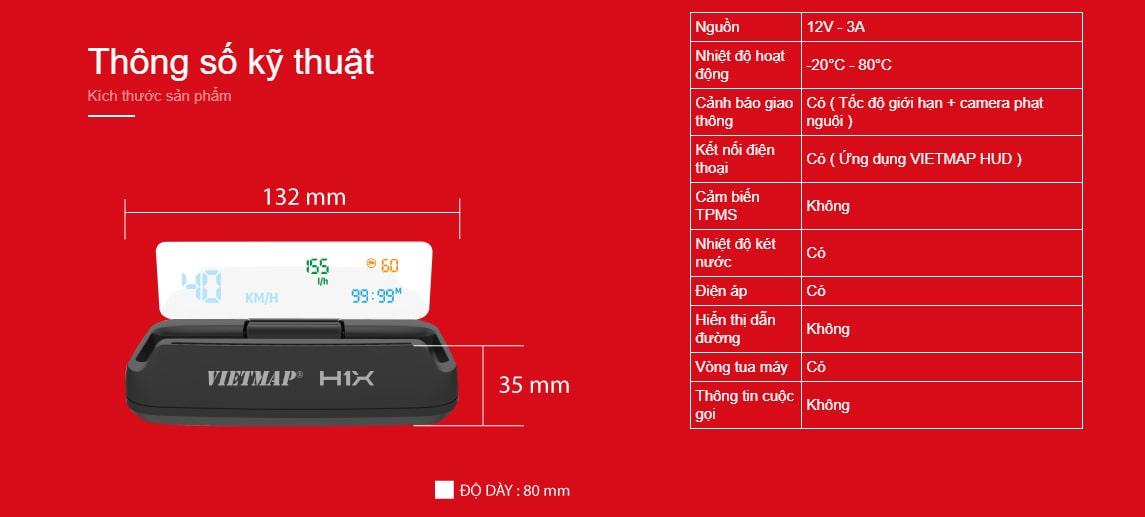 thông số kỹ thuật của màn hình dẫn đường hud h1x của vietmap
