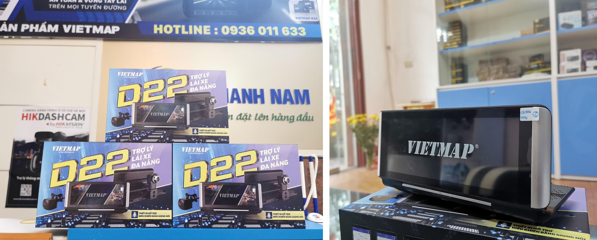 camera hành trình đặt tablo xe vietmap d22